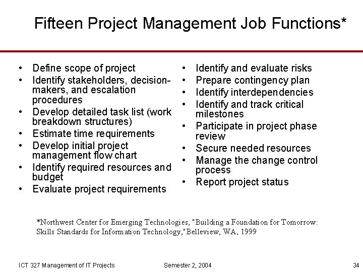 Fifteen Project Management Job Functions* • Define scope of project • Identify stakeholders, decisionmakers,