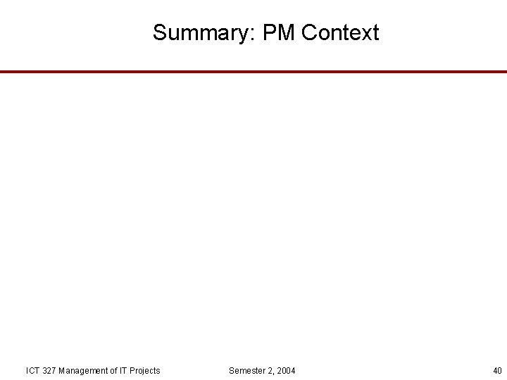 Summary: PM Context ICT 327 Management of IT Projects Semester 2, 2004 40