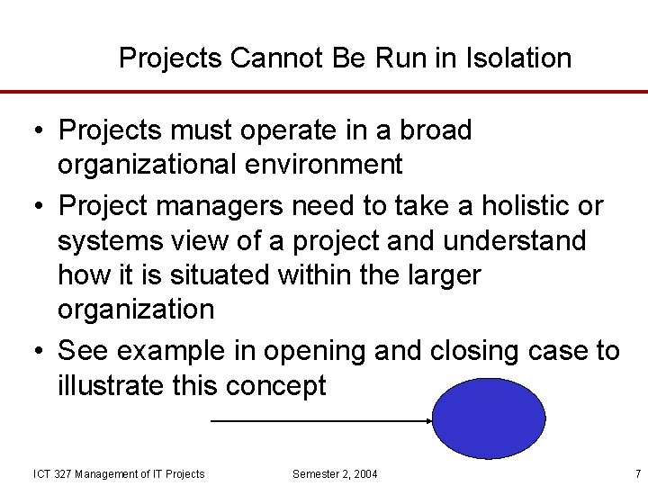 Projects Cannot Be Run in Isolation • Projects must operate in a broad organizational