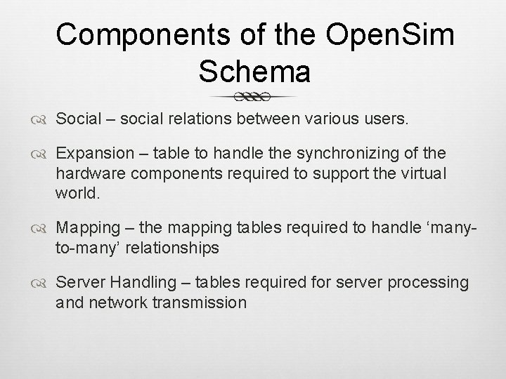 Components of the Open. Sim Schema Social – social relations between various users. Expansion
