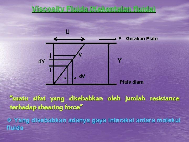 Viscosity Fluida (Kekentalan fluida) U F v d. Y Gerakan Plate Y d. V