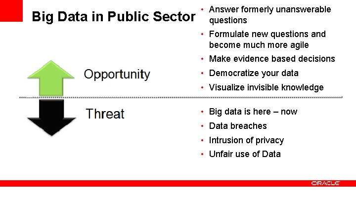 Big Data in Public Sector • Answer formerly unanswerable questions • Formulate new questions