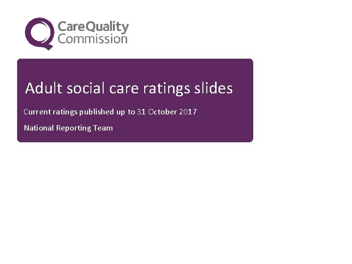 Adult social care ratings slides Current ratings published up to 31 October 2017 National