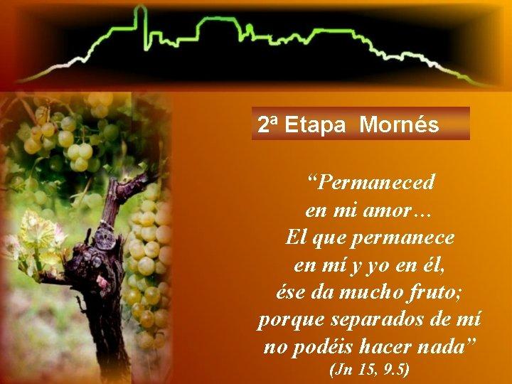 """2ª Etapa Mornés """"Permaneced en mi amor… El que permanece en mí y yo"""