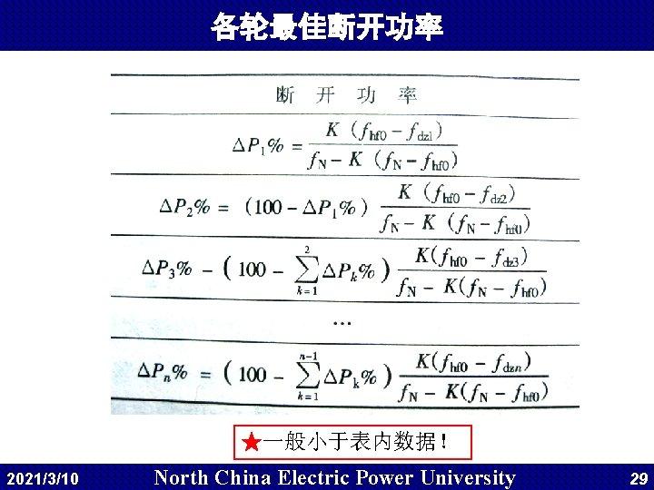 各轮最佳断开功率 ★一般小于表内数据! 2021/3/10 North China Electric Power University 29