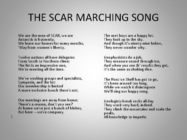 THE SCAR MARCHING SONG ] We are the men of SCAR, we are Antarctic