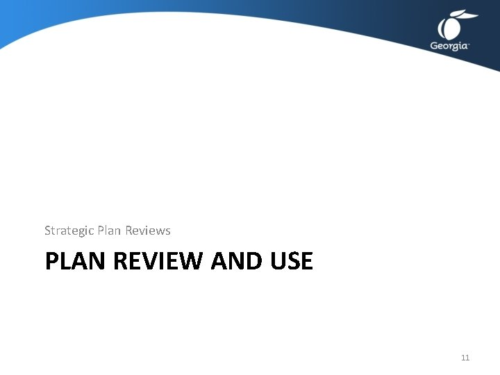 Strategic Plan Reviews PLAN REVIEW AND USE 11