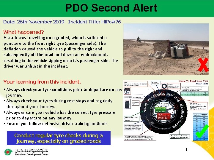 PDO Second Alert Main contractor name – LTI# - Date of incident Date: 26