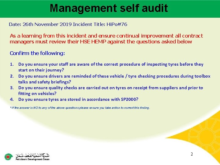 Management self audit Main contractor name – LTI# - Date of incident Date: 26