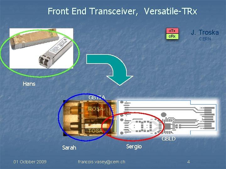 Front End Transceiver, Versatile-TRx J. Troska CERN Hans GBTIA ROSA TOSA GBLD Sergio Sarah