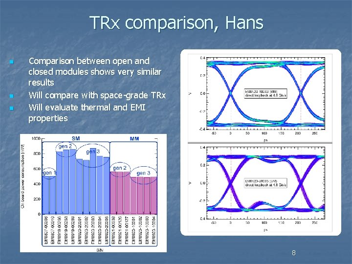 TRx comparison, Hans n n n Comparison between open and closed modules shows very