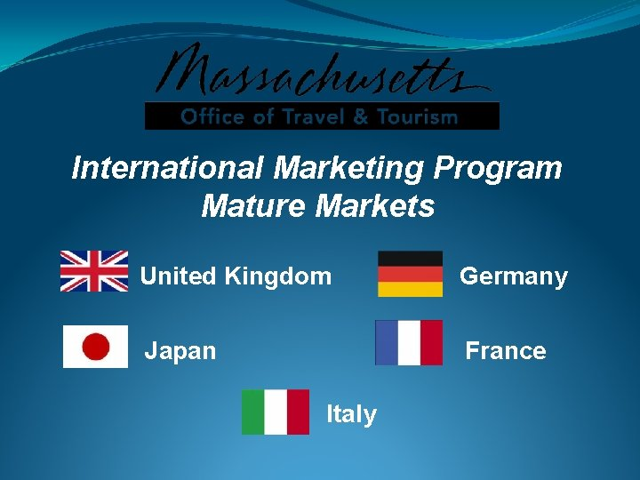International Marketing Program Mature Markets United Kingdom Germany Japan France Italy