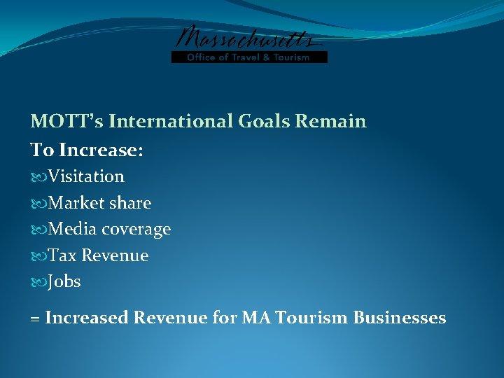 MOTT's International Goals Remain To Increase: Visitation Market share Media coverage Tax Revenue Jobs