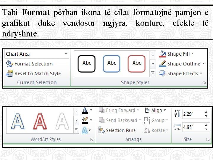 Tabi Format përban ikona të cilat formatojnë pamjen e grafikut duke vendosur ngjyra, konture,
