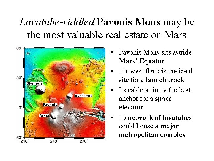 Lavatube-riddled Pavonis Mons may be the most valuable real estate on Mars • Pavonis