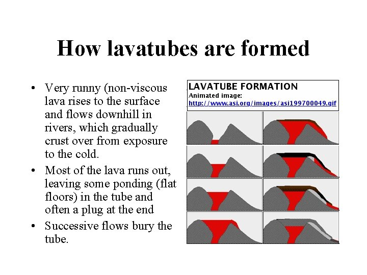How lavatubes are formed • Very runny (non-viscous lava rises to the surface and