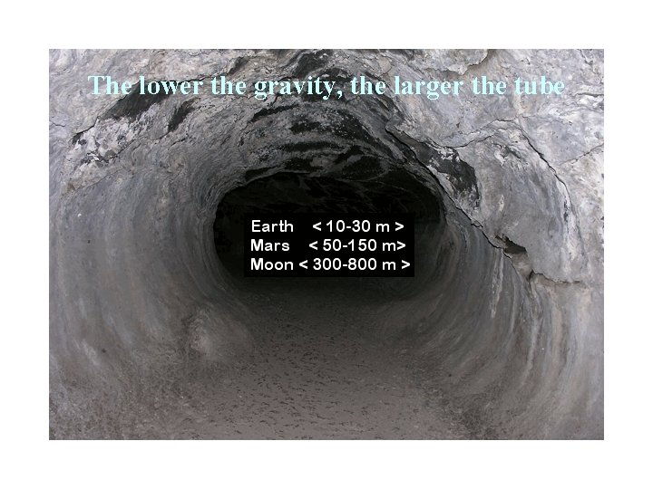 The lower the gravity, the larger the tube