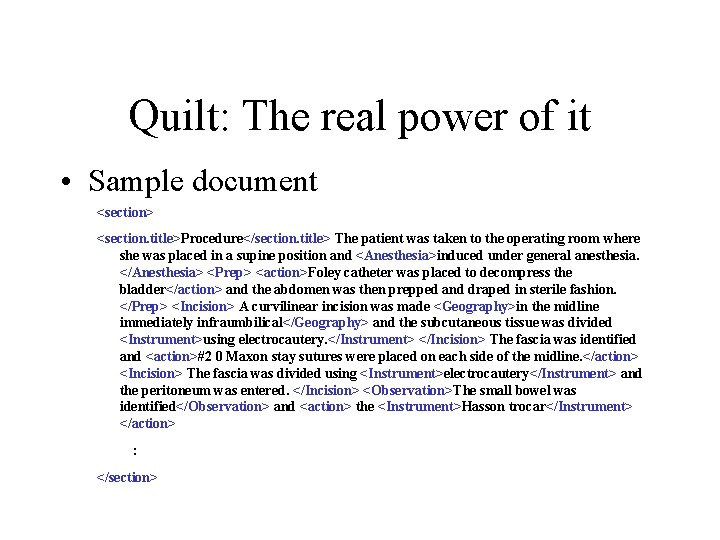 Quilt: The real power of it • Sample document <section> <section. title>Procedure</section. title> The