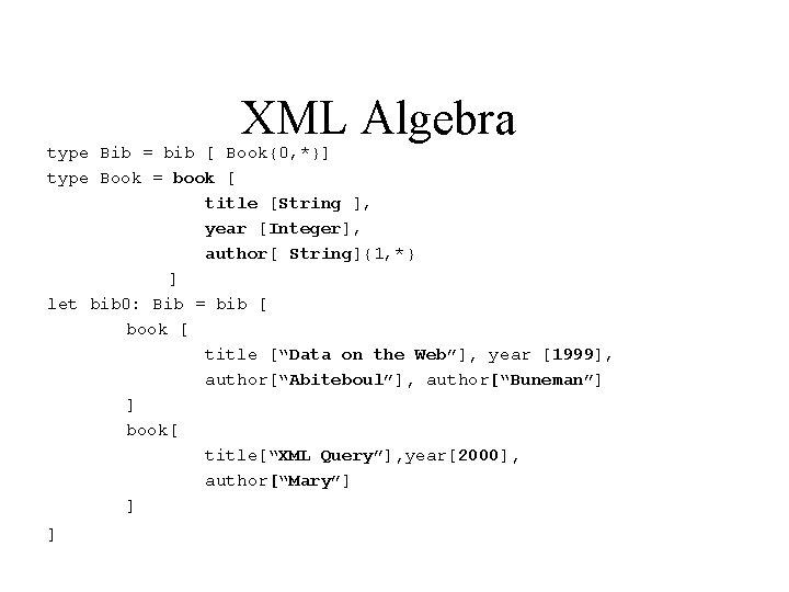 XML Algebra type Bib = bib [ Book{0, *}] type Book = book [