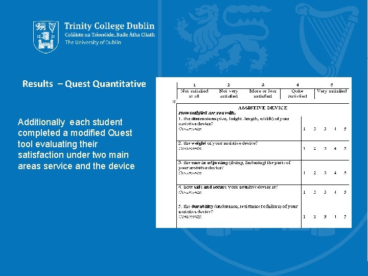 Results – Quest Quantitative Additionally each student completed a modified Quest tool evaluating their
