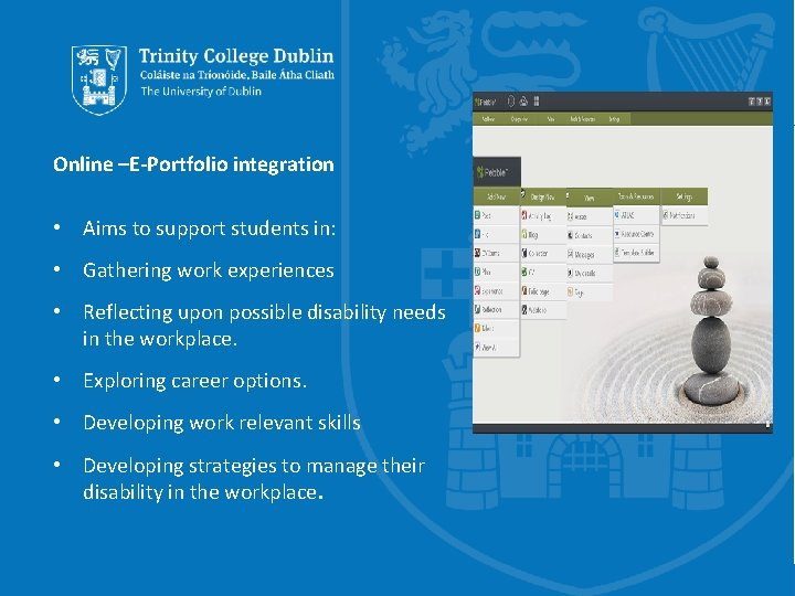 Online –E-Portfolio integration • Aims to support students in: • Gathering work experiences •