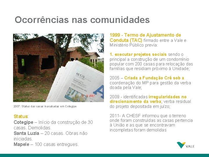 Ocorrências nas comunidades 1999 - Termo de Ajustamento de Conduta (TAC) firmado entre a