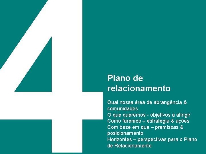 4 Plano de relacionamento 21 Qual nossa área de abrangência & comunidades O queremos