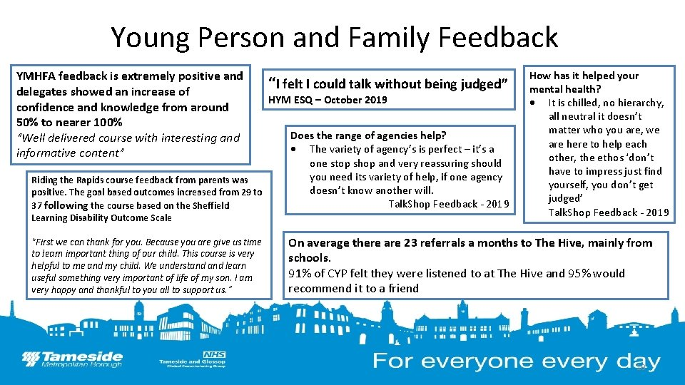 Young Person and Family Feedback YMHFA feedback is extremely positive and delegates showed an