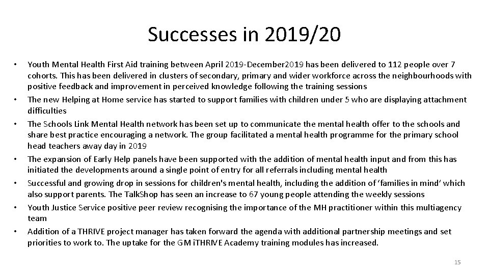 Successes in 2019/20 • • Youth Mental Health First Aid training between April 2019