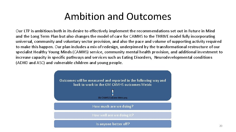 Ambition and Outcomes Our LTP is ambitious both in its desire to effectively implement