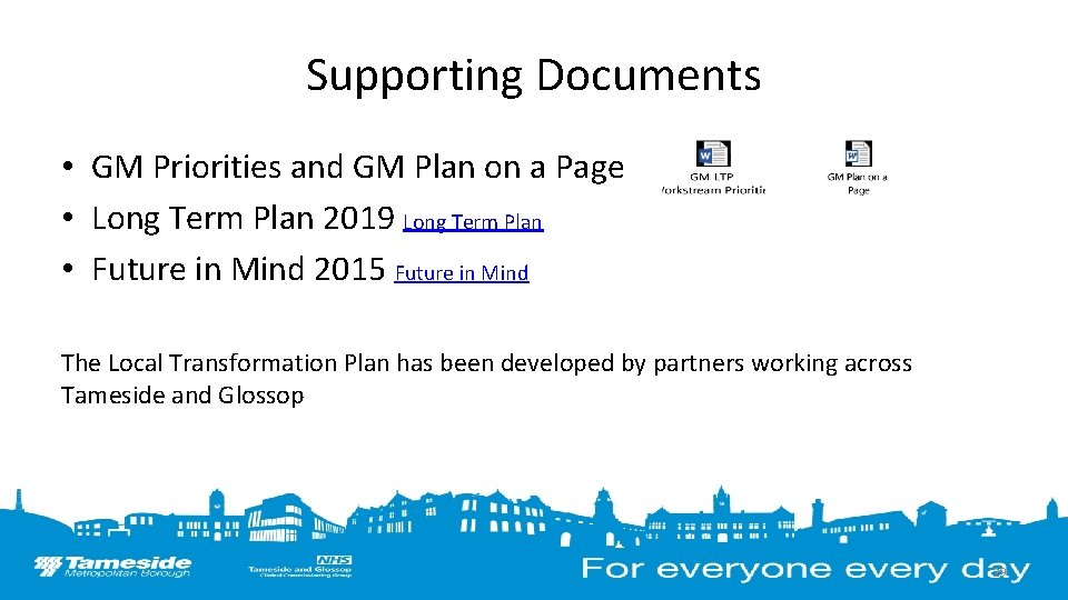 Supporting Documents • GM Priorities and GM Plan on a Page • Long Term