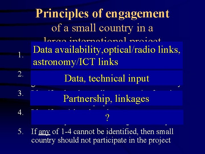 Principles of engagement of a small country in a large international project 1. Data