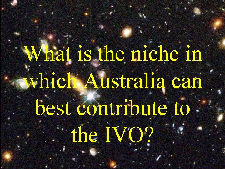 What is the niche in which Australia can best contribute to the IVO?