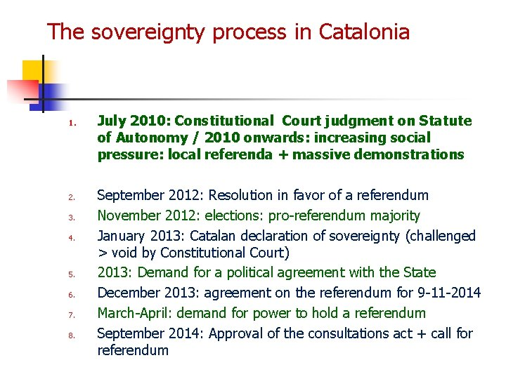 The sovereignty process in Catalonia 1. 2. 3. 4. 5. 6. 7. 8. July