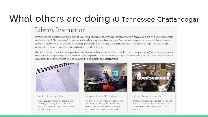 What others are doing (U Tennessee-Chattanooga)