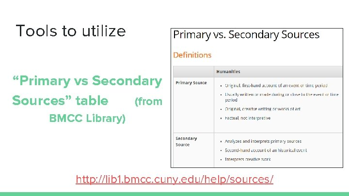 """Tools to utilize """"Primary vs Secondary Sources"""" table (from BMCC Library) http: //lib 1."""