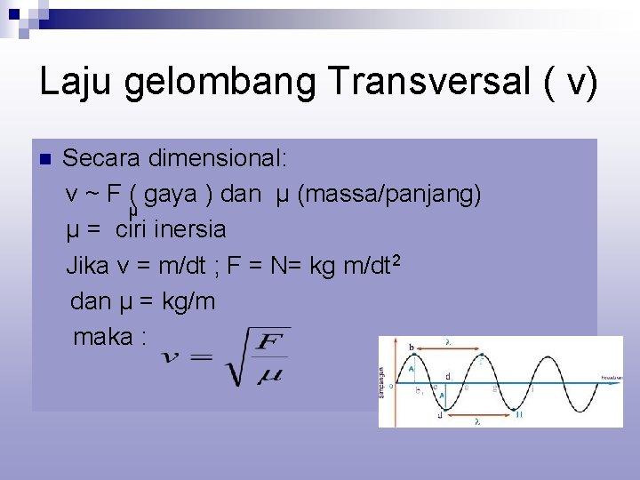 Laju gelombang Transversal ( v) n Secara dimensional: v ~ F ( gaya )