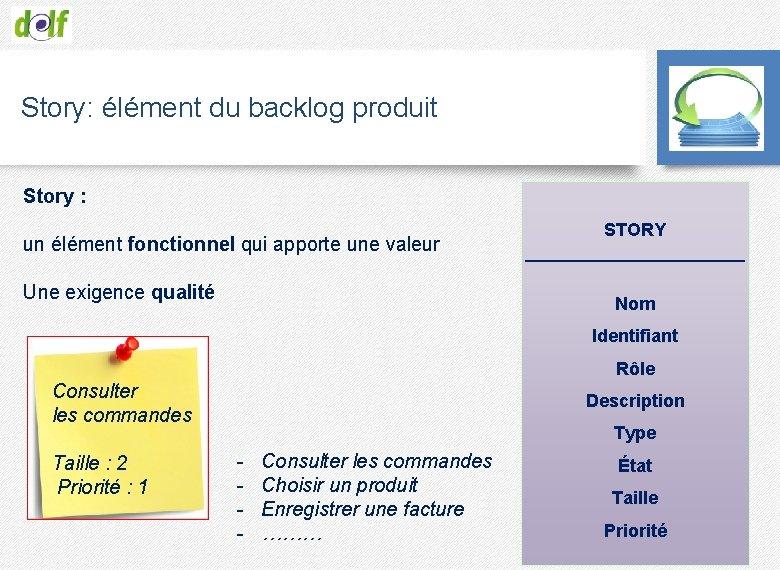 Story: élément du backlog produit Story : un élément fonctionnel qui apporte une valeur