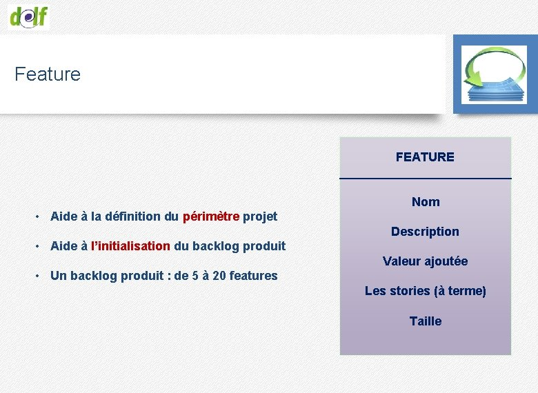 Feature FEATURE _____________ Nom • Aide à la définition du périmètre projet Description •
