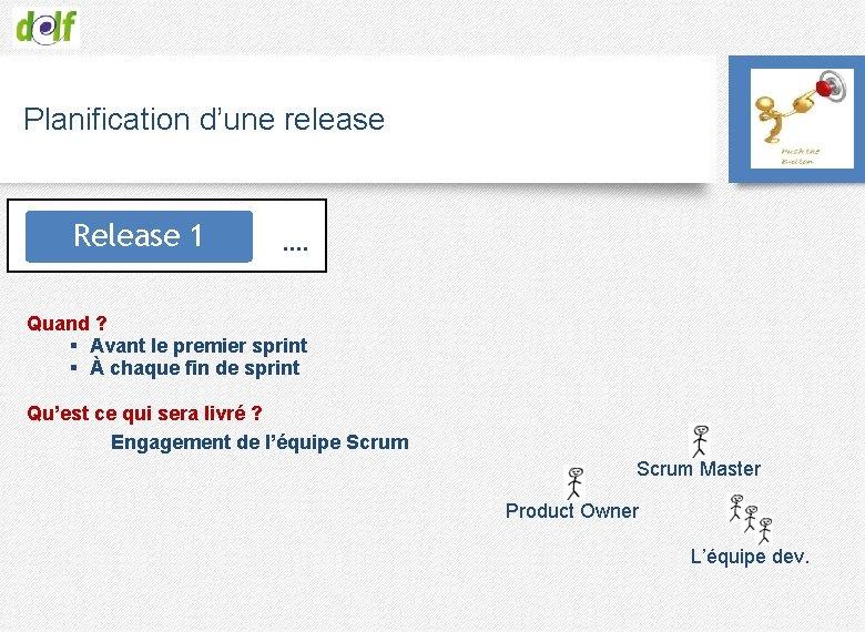 Planification d'une release Release 1 …. Quand ? § Avant le premier sprint §