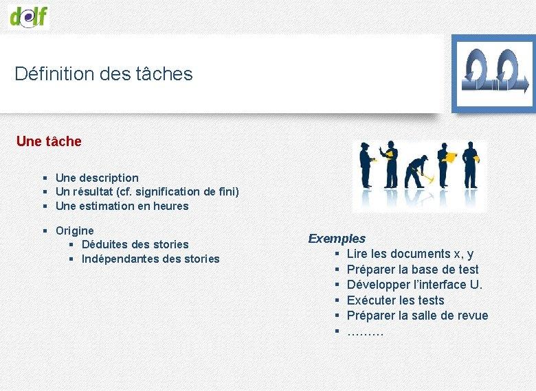 Définition des tâches Une tâche § Une description § Un résultat (cf. signification de