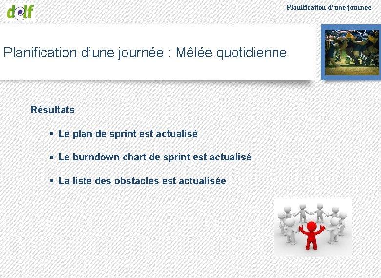 Planification d'une journée : Mêlée quotidienne Résultats § Le plan de sprint est actualisé