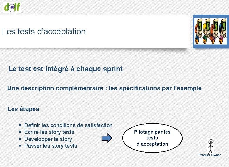 Les tests d'acceptation Le test intégré à chaque sprint Une description complémentaire : les