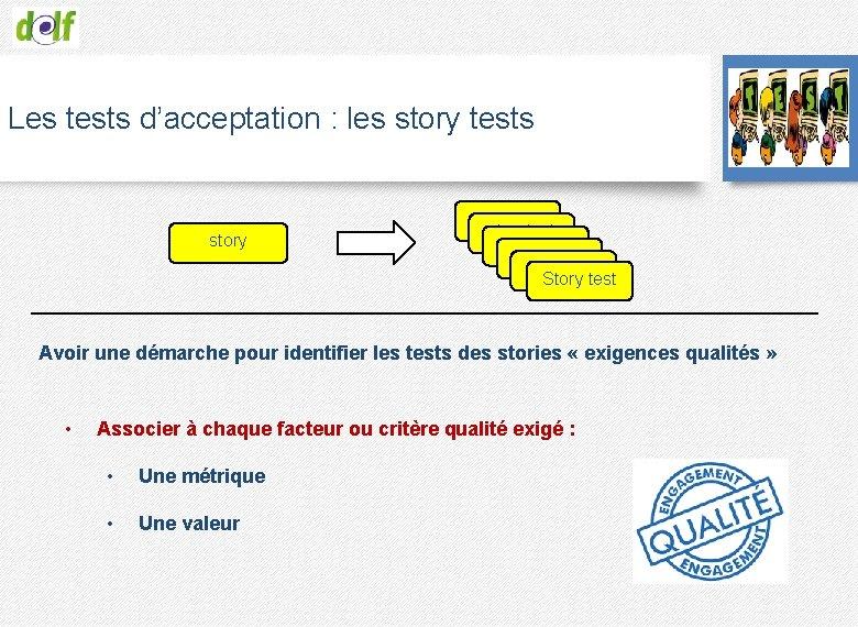 Les tests d'acceptation : les story tests storytest storytest Story test Avoir une démarche