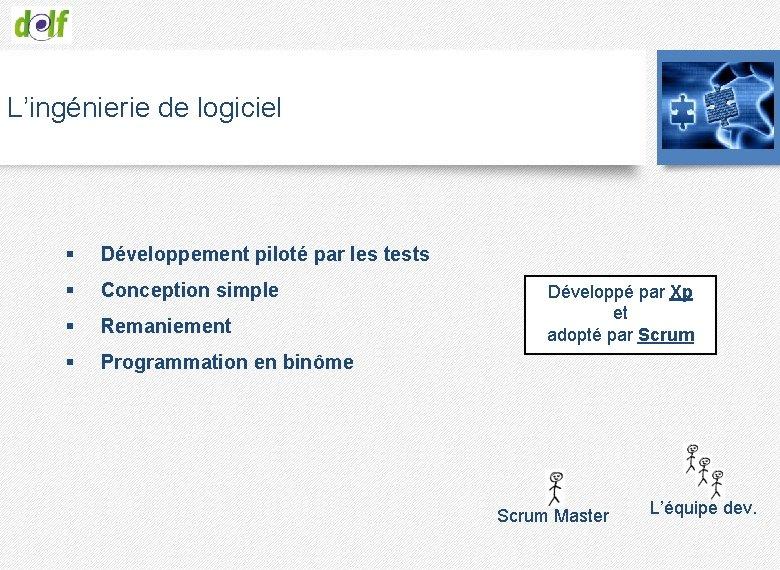 L'ingénierie de logiciel § Développement piloté par les tests § Conception simple § Remaniement