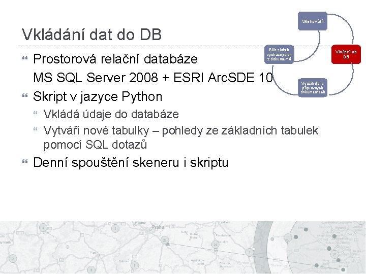 Skenování Vkládání dat do DB Běh služeb vycházejících z dokumentů Prostorová relační databáze MS