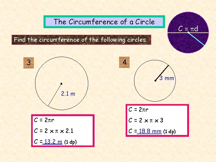 The Circumference of a Circle C = d Find the circumference of the following