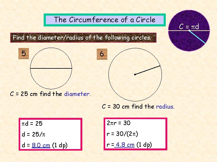 The Circumference of a Circle Find the diameter/radius of the following circles. 5 6