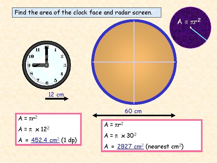 Find the area of the clock face and radar screen. A = r 2