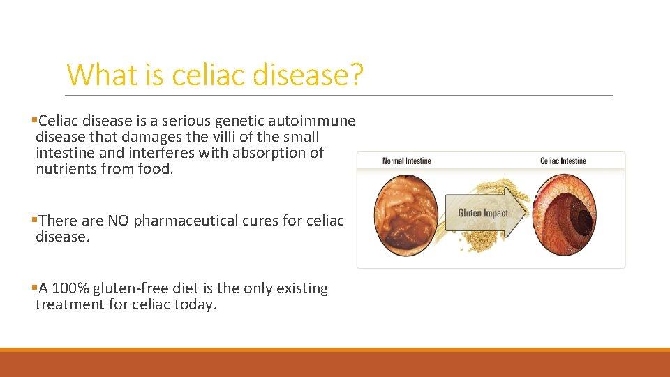 What is celiac disease? §Celiac disease is a serious genetic autoimmune disease that damages